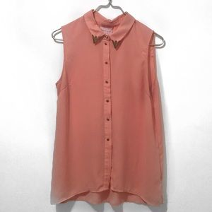 Romeo & Juliet Coral Pink / Gold Accent Sheer Top